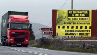 A lorry crosses the Irish border