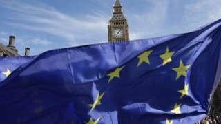 EU flag outside Parliament