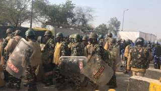 Hundreds of policemen have been deployed at the Singhu border