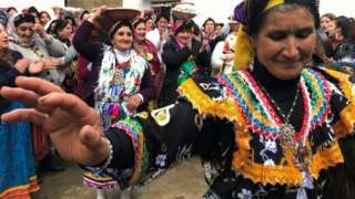 Berber women, dressed in traditional clothes, celebrate their Amazigh New Year in Tifilkout village, in Tizi Ouzou Governorate, Algeria January 12, 2021.