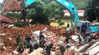 Hiện trường vụ sạt lở làm 22 chiến sĩ tử vong trong vụ lở đất tại Đoàn kinh tế quốc phòng 337, Hướng Hóa, Quảng Trị hôm 18/10.