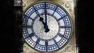 Clock on Elizabeth Tower shows 11pm