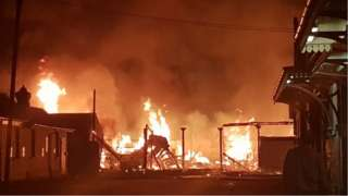 Nottingham Cattle Market fire off Meadow Lane, Nottingham