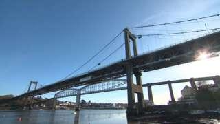 Tamar Bridge between Plymouth and Cornwall