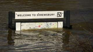 Shrewsbury welcome sign under water in Feb 2020 floods
