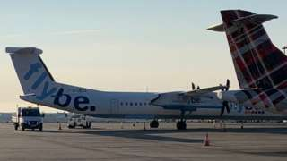 Flybe branded plane at Ronaldsway Airport