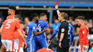 Birmingham played with 10 men from the 23rd minute onwards after Che Adams' red card