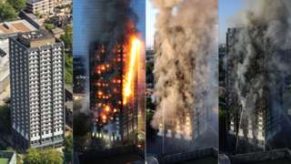 Images showing the advance of a fire at Grenfell Tower