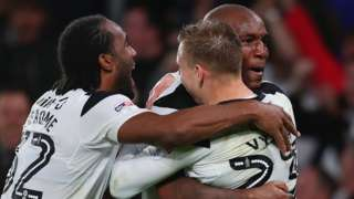 Derby County celebrate their win over Cardiff City