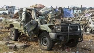 Military wreckage in Bata