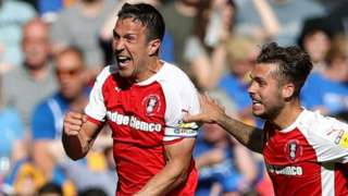 Rotherham's Richard Wood (left) celebrates his second goal