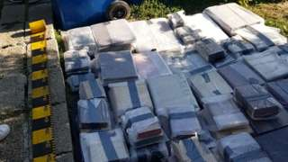 The books after being discovered by police in Romania