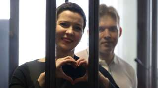 A court hearing on the criminal case against Maria Kolesnikova and Maxim Znak is being held in Minsk, Belarus, 4 August 2021
