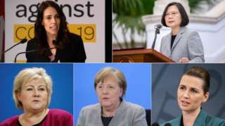 Clockwise from top left: Jacinda Ardern (New Zealand), Tsai Ing-wen (Taiwan), Erna Solberg (Norway), Angela Merkel (Germany) and Mette Frederiksen (Denmark)