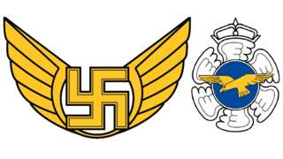 Old logo of Finnish Air Force Command at left, next to current logo of Air Force