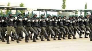 Nigeria police officers parade