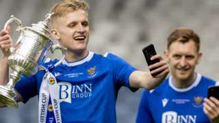 St Johnstone midfielder Ali McCann with the Scottish Cup