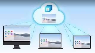 A graphic showing Microsoft cloud streaming to multiple devices
