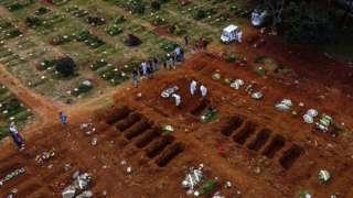 Cemitério cheio de valas abertas