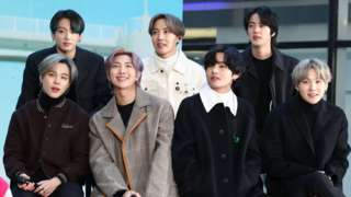 "(L-R) Jimin, Jungkook, RM, J-Hope, V, Jin, and SUGA of the K-pop boy band BTS visit the ""Today"" Show at Rockefeller Plaza on February 21, 2020"
