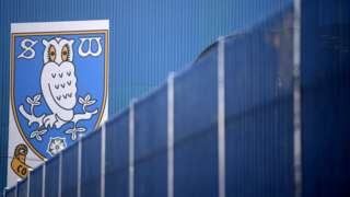 Sheffield Wednesday badge on the stand at Hillsborough