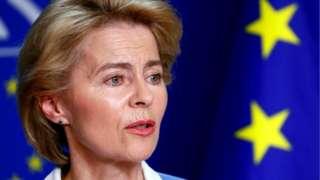 German Defence Minister Ursula von der Leyen briefs the media at the EU Parliament in Brussels, 10 July 2019