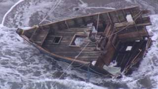 The front part of the ship, which contained five corpses and two human heads