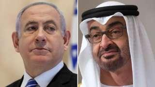 Composite image of Benjamin Netanyahu and Abu Dhabi Crown Prince Mohammed bin Zayed Al Nahyan