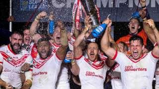 St Helens lift the Super League Grand Final trophy