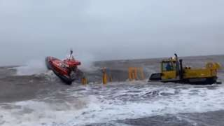 Caister Lifeboat launches