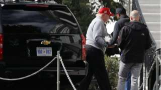 US President Donald Trump returning to the White House after a game of golf on October 5 2019