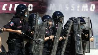 "Neo-fascist groups, extremists and ultras from Italy's football clubs clash with police as they demonstrate over the government""s handling of the coronavirus emergency, on 6 June 2020 at Circus Maximus in Rome"