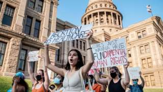 Pro-choice protesters march outside the Texas State Capitol this month