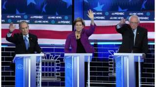 Bloomberg, Warren and Sanders at the Democratic debate in Nevada