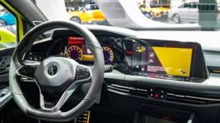 Volkswagen Golf Mk8 hatchback car interior on display at Brussels Expo on JANUARY 09, 2020