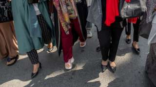 Women hold a protest in Kabul against Taliban restrictions