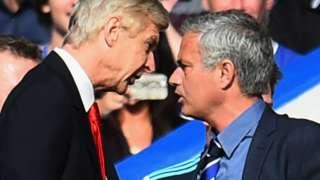 Arsenal manager Arsene Wenger (left) and Jose Mourinho