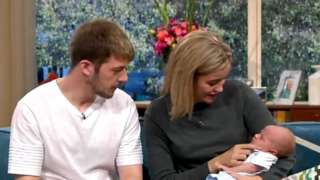 Tom Evans and Kate James with baby Thomas