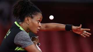 Nigerian table tennis player Funke Oshonaike competing at the Tokyo Olympics