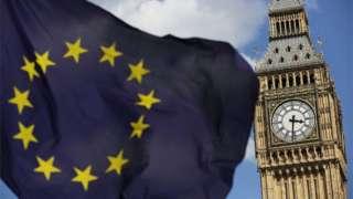 EU flag flies in front of UK Parliament