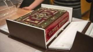 Lindisfarne Gospels on display at the British Museum