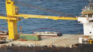 Photograph released by the Saudi-led coalition in Yemen in 2018 purportedly showing speedboats on the deck of the Saviz