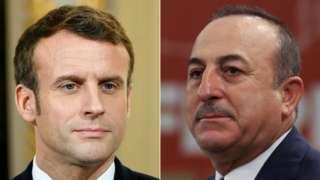 Emmanuel Macron, left, and Mevlut Cavusoglu