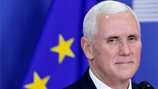 Mike Pence briefs the media at the EU Commission headquarters in Brussels, Belgium, February 20, 2017