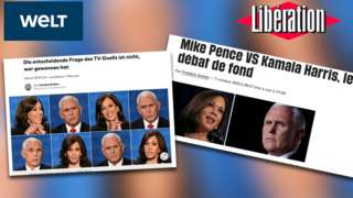 Combination photo of media headlines on Harris-Pence debate