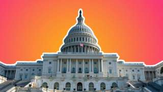 The US Congress building is seen here set against a backdrop of the Tech Tent brand colours of orange and deep red