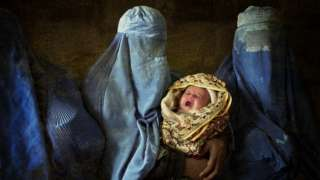 Afghan women in burkas, with baby, illustration
