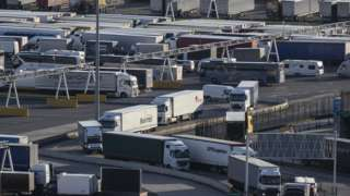 Lorries arrive and depart from Dover Ferry Terminal