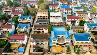An aerial photo taken of the hometown of Xu Jiayin, chairman of Evergrande Group, in Jutaigang Village, Gaoxian Township, Taikang County, Zhoukou city, Henan Province, China.