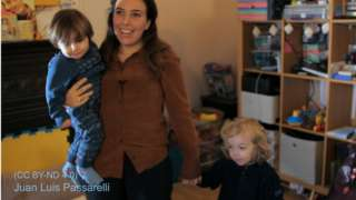 Undated handout videograb of Julian Assange's partner Stella Morris and their sons Gabriel and Max